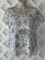 Joie Crochet Lace Top Womens Sz XS White Blue Dusk Devine B Lined MSRP $248 New