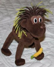 "2006 Cascade Toy Poseable 7"" Brown Monkey Plush Rubber String Hair Yellow Banana"