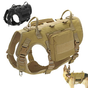 Tactical K9 Training Dog Harness with 2 Pouches Military Molle Nylon Vest Large