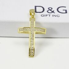 DG Gift Inc Men's Iced-Out 925 Sterling Silver Gold 44x23mm Cross Pendant + Box