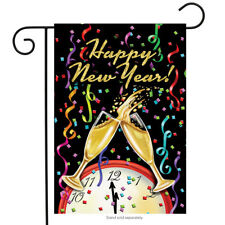 "Happy New Year Garden Flag Champagne Confetti 12.5"" x 18"" Briarwood Lane"