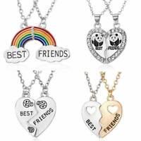 NEW! BEST FRIEND Heart  2 Pendant Bff Friendship Necklace Jewelry