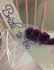 Hen Party Sash & Veil Set - Silver and Purple   Floral Boho