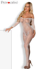 Bodystocking, combinaison, catsuit sexy, Lingerie, neuf, blanc, taille unique OS