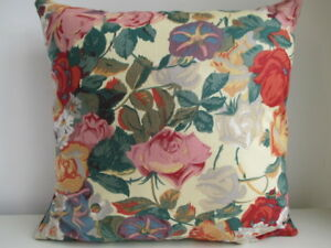 Liberty Sullivan Floral Cotton & Red Velvet Fabric Vintage Retro Cushion Cover