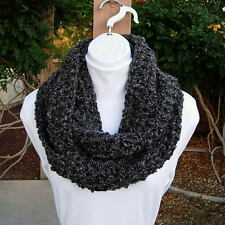 Dark Gray Grey & Black COWL SCARF INFINITY LOOP Soft Crochet Knit Winter Circle