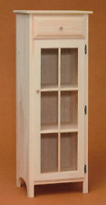 NEW AMISH Custom Made Pine UNFINISHED Glass Door Jelly Cabinet   We'll Finish!