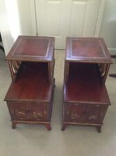 VINTAGE PAIR OF BEAUTIFUL ASIAN END TABLES WITH HAND PAINTED ASIAN SCENES!