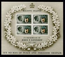 1965 Maldive Islands Kennedy Memorial Souvenir Sheet MNH