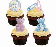 Baby Shower Twins, Girl / Boy Edible Cupcake Toppers - Stand-up Cake Decorations