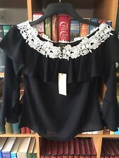 Lipsy Black Off The Shoulder Embroidered Frilly Neck flared Sleeve Size 6