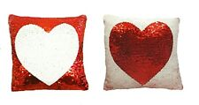 Love Heart Sequin Cushion Colour Change Two Tone Filled Cushion 30cm x 30cm
