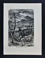 1878 Picturesque Print - Craigdhu from above Kingussie - Inverness Scotland