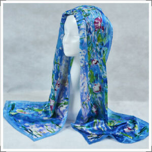"""Oblong 100% Charmeuse Silk Scarf Art Oil painting Claude Monet's """"Water Lilies"""""""