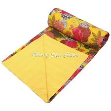 Indian Bed Cover Queen Cotton Printed Quilt Blanket Tropical Fruit Kantha Quilts