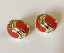 Vintage 80s Earrings Studs Red Enamel Gold Plated Oval 50s Rockabilly Style VGC