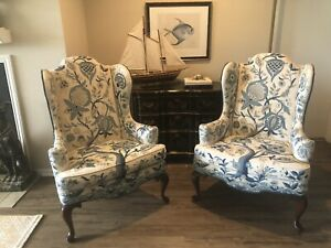 Woodmark Wingback Queen Anne Chairs Crewel Fabric Tree Of Life Blue & Cream Pair
