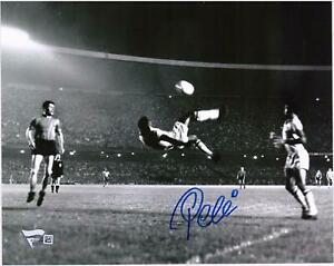 """Pele Brazil Signed 8"""" x 10"""" B&W Bicycle Kick Side View Photo Signed in Blue"""