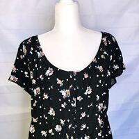 Torrid Tunic Top Plus Size 4 Black Floral Babydoll Short Sleeves