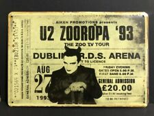 U2 ZOOROPA 93 THE ZOO TV TOUR DUBLIN 1993 CONCERT Ticket Vintge Retro Metal Sign