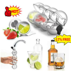 Bar Ice Cube 4 Ball Maker Mold Sphere Large Tray Whiskey DIY Mould Best