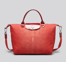 Auth. Longchamp Women's Red Tote Le Pliage Neo Printed Medium (Made in France) M