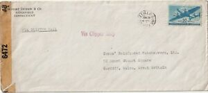 1943 USA oversize WWII censored cover sent from Bridgefield Conn to Cardiff