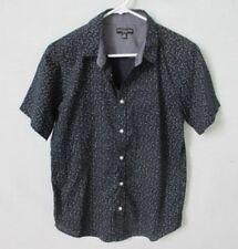 London Fog black geometric cotton blend short sleeve button front shirt *Sz M*