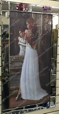 Lady standing back pose in white dress picture with crystals & mirror frame