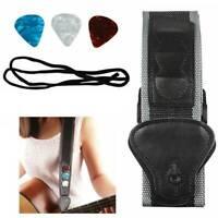 Useful Guitar Strap Nylon Pick Holder W/ 3 Picks for Electric/Acoustic Guitar .b