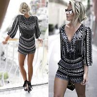 Womens Holiday Mini Playsuit Ladies Jumpsuit Romper Summer Beach Dress Size 6-14