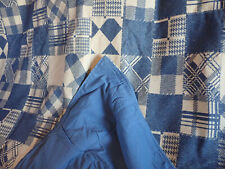 Large heavey vintage wool blanket patchwork design with cotton lined reverse