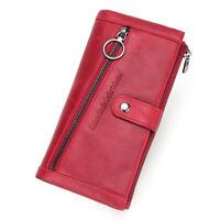 Women's Cowhide Leather Long Wallet RFID Credit Card Holder Zip Purse Handbag