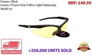 RayZor Black Sports Wrap Sunglasses Uv400 Light Enhancing Yellow Lens (37