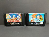 Sonic the Hedgehog 1 & 2 (Sega Genesis, 1991 & 1992) TESTED AUTHENTIC