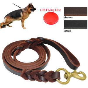 Best Braided Leather Pet Dog Leads Leash Durable for German Shepherd Training