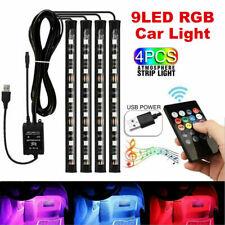 4X 9LED RGB Car Interior LED Strip Lights Wireless Remote Control Music 5V USB