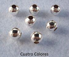 50 ENTREPIEZAS BOLAS 8mm AGUJERO 3mm  CUERO, PULSERAS, COLOR PLATA. E9
