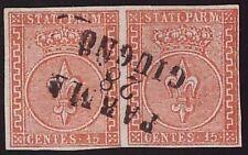 PARMA 1853 - 15 c. n. 7 COPPIA LUSSO Certificato COLLA € 1.100