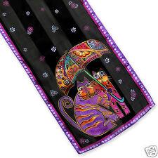 Laurel Burch 100% Silk Oblong Silk Scarf Cats Under Umbrella Black Purple New