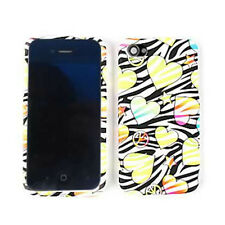 For Apple iPhone 4 4S Case Hearts Peace Signs Stars Black Zebra Hard Cover