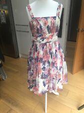 Monsoon Cream Floral Fifties Style Spaghetti Strap Dress Size 14