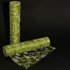 1,50 €/m) Tischläufer Organza FLOWER grün 30 cm x 10 m Hochzeit
