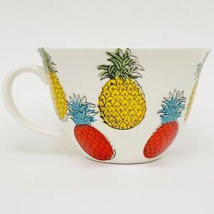 Signature Housewares PINEAPPLE White Red Yellow Large Cappuccino Coffee Mug