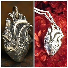 Sterling Silver Anatomical Heart Charm Necklace Gothic Love Human Anatomy 1164