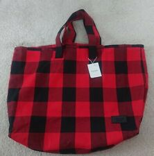 Pull And bear Red & Black Check Tote Bag