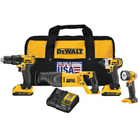 DEWALT 4-Tool 20-Volt Max Power Tool Combo Kit with Soft Case (Charger Included)