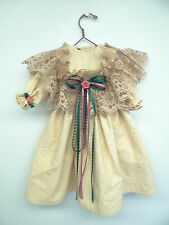 Vintage Homemade Lace White Long Doll Dress Outfit Roses Clothing Unique Old