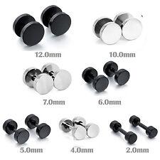 MENDINO Men's Stainless Steel Studs Earrings Fake Ear Plug Pierced Silver Black