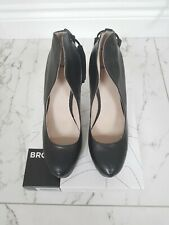 BNIB 100% Leather Bronx Black Hidden Platform Tassel Detail Stiletto Heels, SZ 6